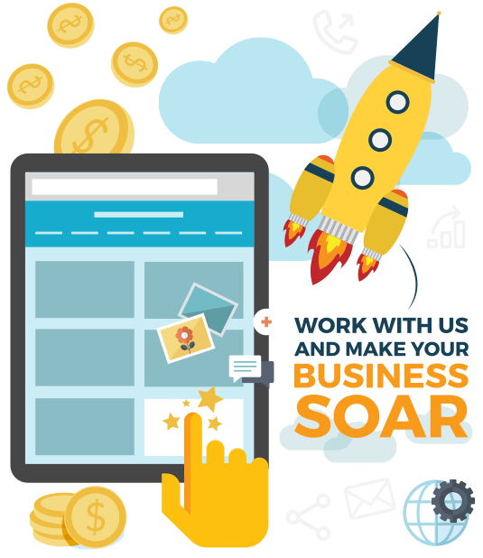 Tablet and the message Work With Us and Make Your Business Soar