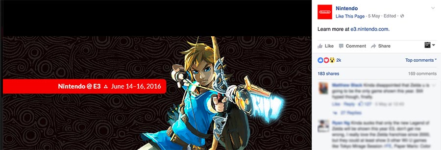 Nintendo's facebook cover photo on facebook in 2016