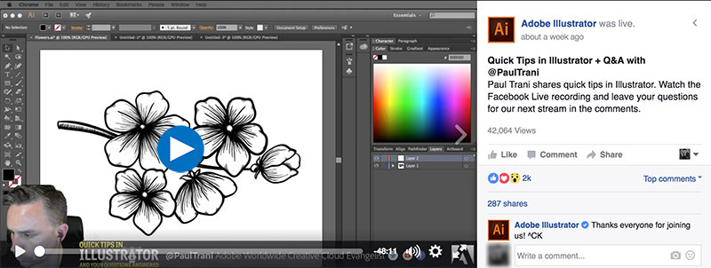 Adobe Illustrator Live Tutorial on Facebook