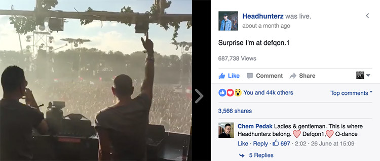 Dutch DJ and Producer Headhunterz live on Facebook