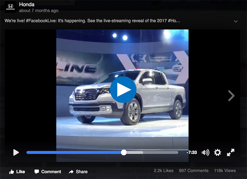 Honda Live Streaming of Facebook