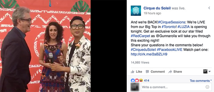 Cirque Du Soleil Broadcasting Live on Facebook