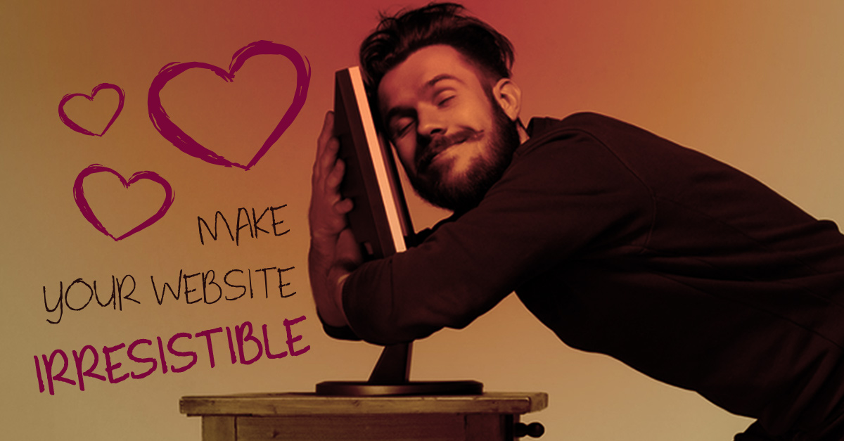 Man in love with his website and hugging his computer
